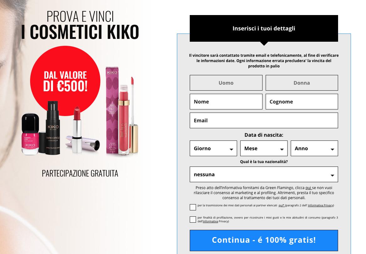 concorso cosmetici kiko