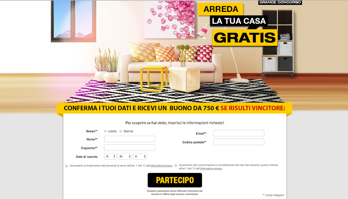 Concorso a premi arreda la tua casa for Arreda la tua casa online