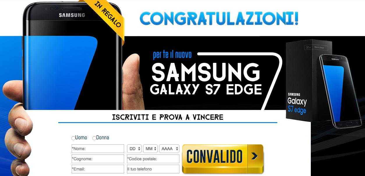 concorso a premi vincere samsung galaxy s7 edge