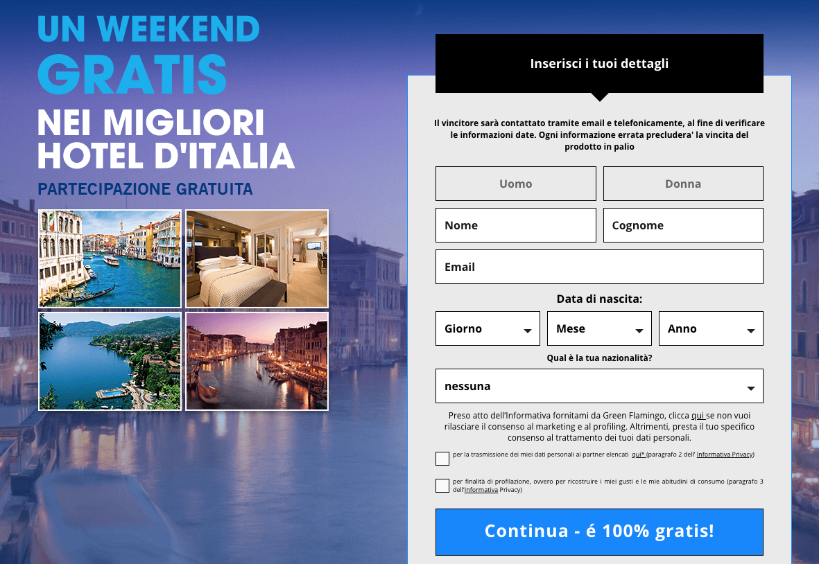 vinci un week end gratis