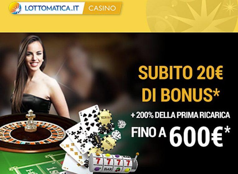Lottomatica 20€ Gratis + 200% Fino a 600€ Primo Deposito