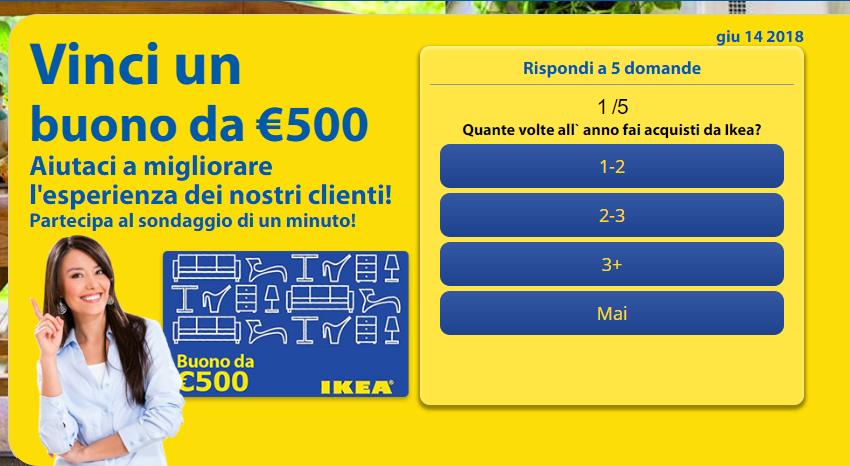 Concorso a Premi Vinci Buono Ikea da 500€