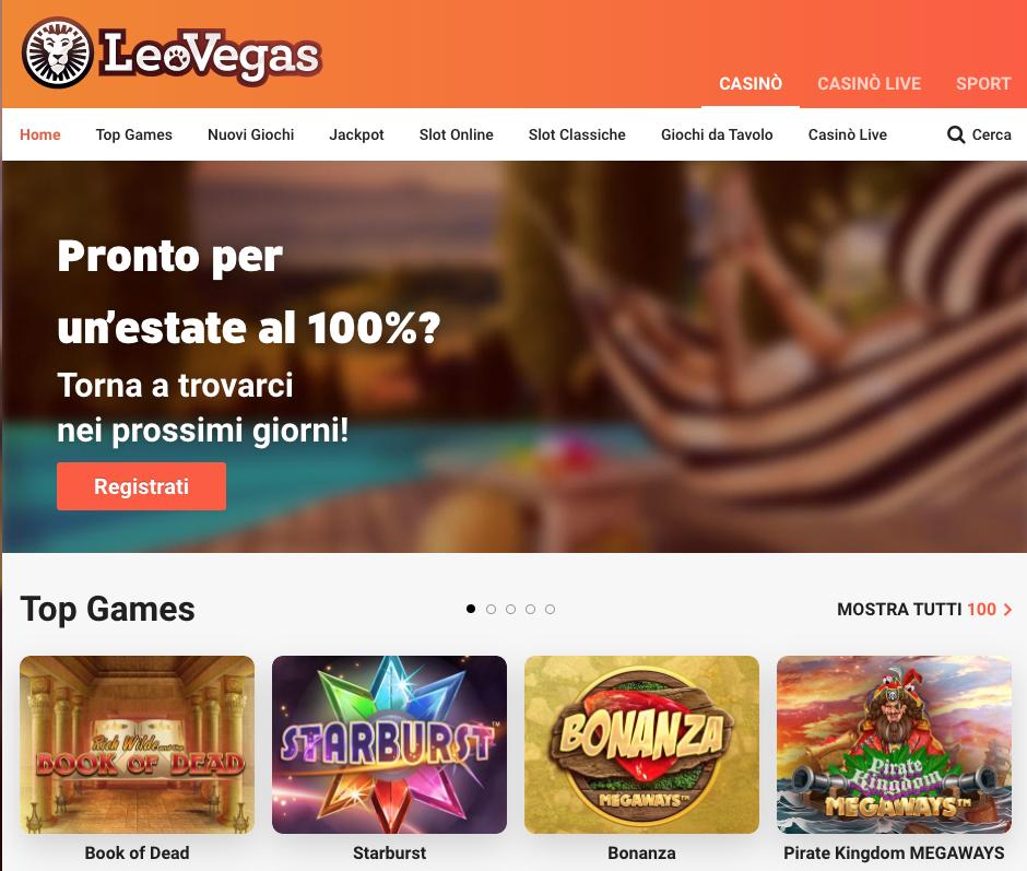 Leovegas casino schermata home