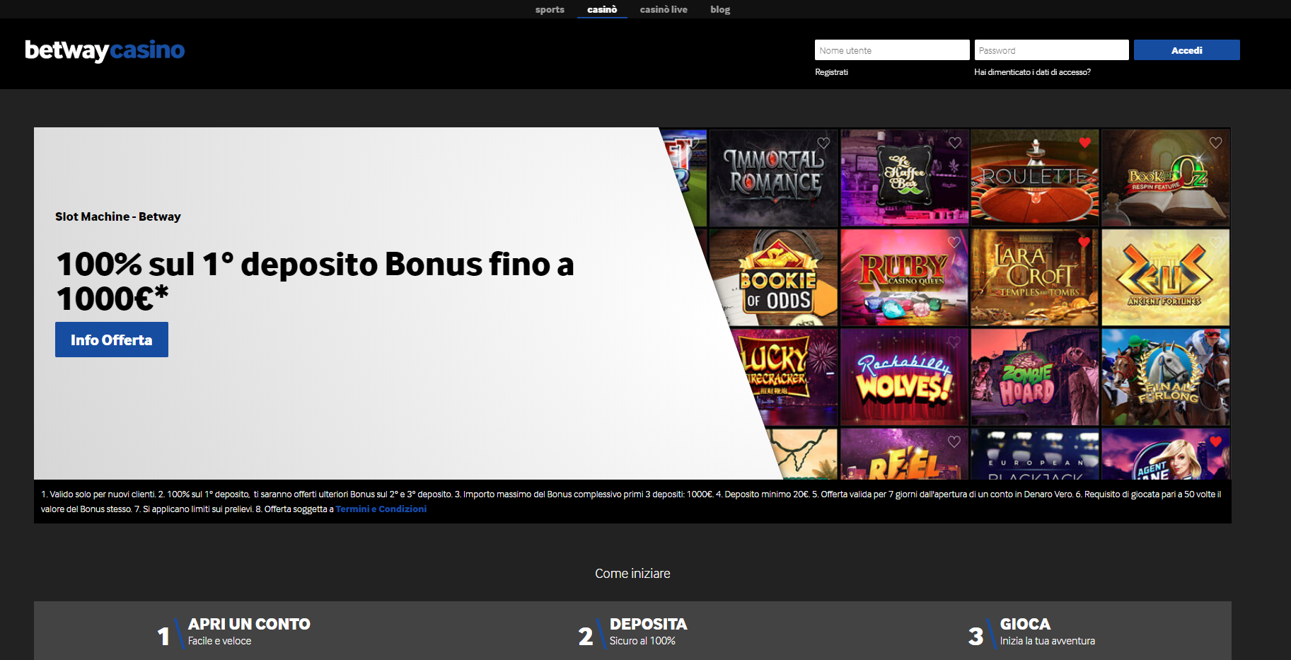 betway casino bonus di benvenuto e download