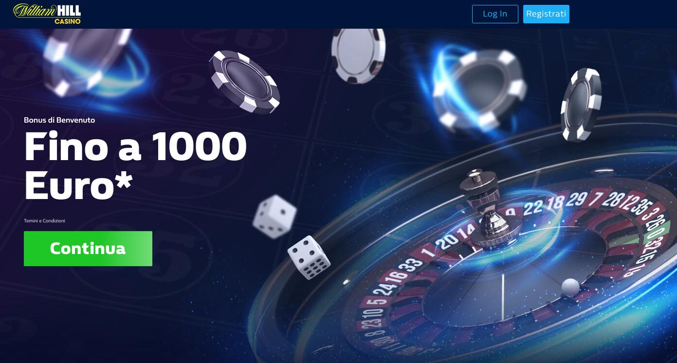 Whilliam Hil Bonus di Benvenuto Casino Online