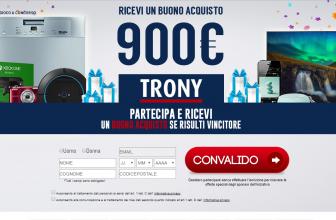 Concorso a Premi Vinci Buono da 900€ Trony